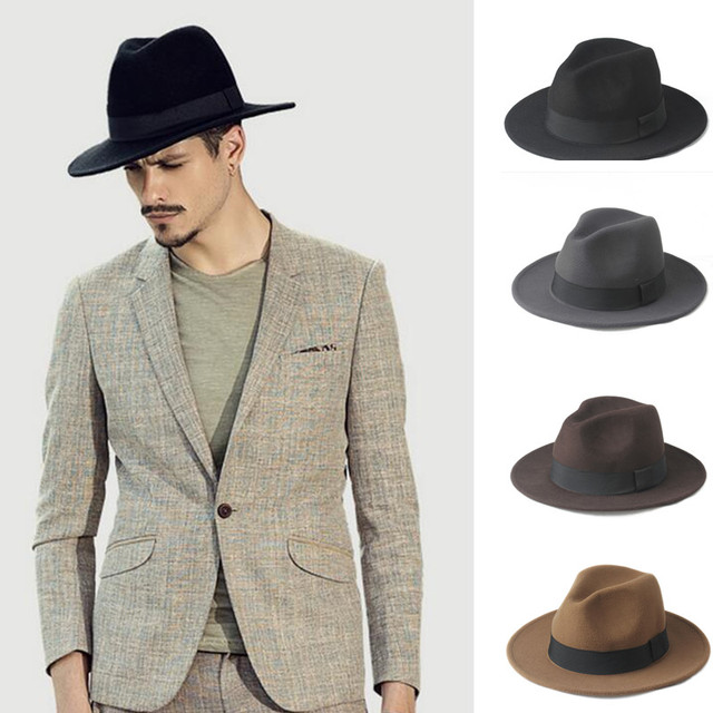 9ab22cc893b84f Fashion 100% Wool Wide Brim Winter Autumn Men Felt Trilby Fedora Hat For  Gentleman Top Cloche Panama Sombrero Cap 58CM-in Men's Fedoras from Apparel  ...