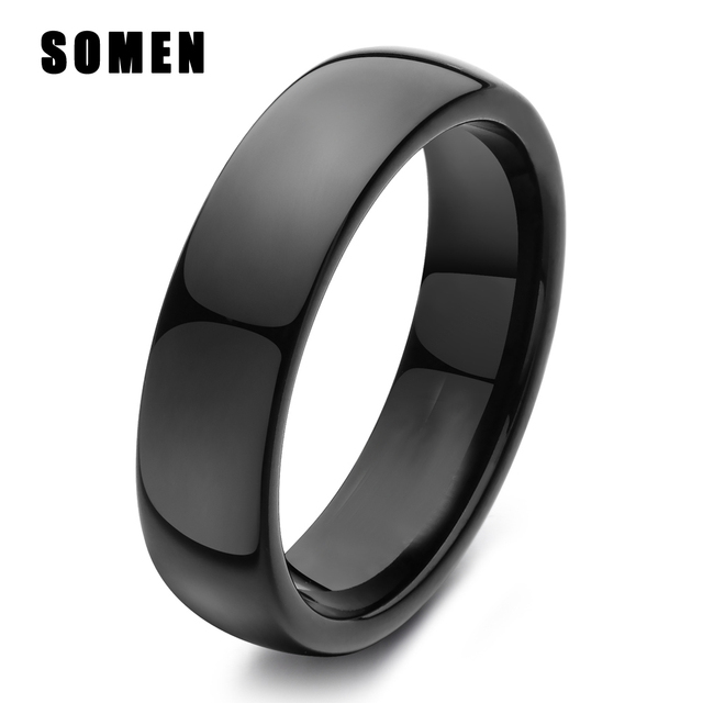 light classic 6mm smooth dome black titanium wedding bands engagement ring for women female jewelry men simple anel never fade - Titanium Wedding Rings For Men