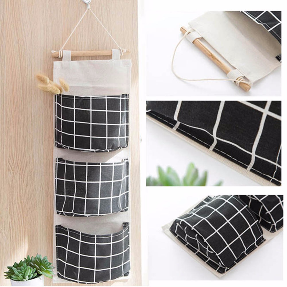 3 Pockets Cotton Linen Hanging Storage Bag Wall Wardrobe Organizer Pouch Cosmetics Sundries Storage Bags