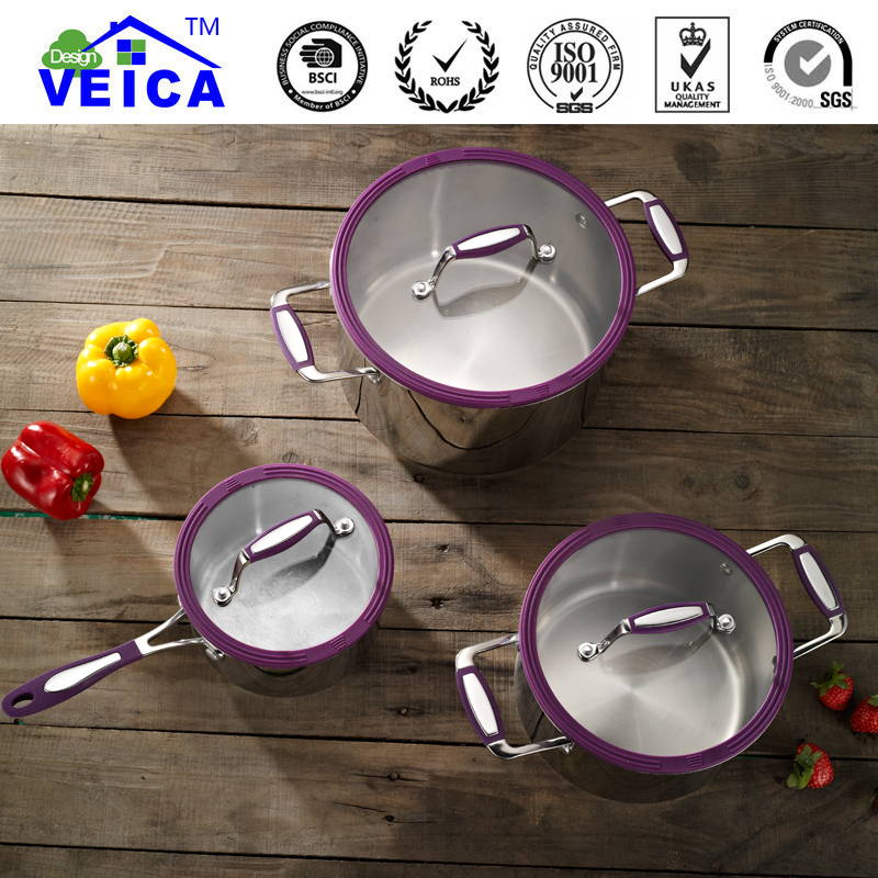 2019 New 3pcs Eco friendly Lfgb Induction Stainless Steel Cookware Casserole With Strainer Lids Stylish Home Cooking Tools