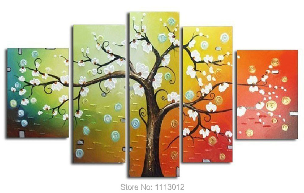 Tree Oil Painting 5pcs On Canvas High Quality Knife White Red Modern Wall Picture For Living Room Abstract Home Decoration Sale