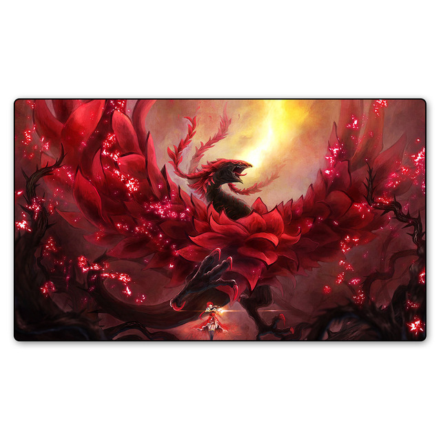 Red Rose Dragon Playmats, Playmat for cards game Yu-Gi-Oh, large table cloth board game pad playmats