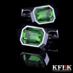 KFLK camisa Jóias abotoaduras de casamento para homens Marca Verde Cristal moda ligação de Punho Por Atacado Botões de Alta Qualidade Frete Grátis