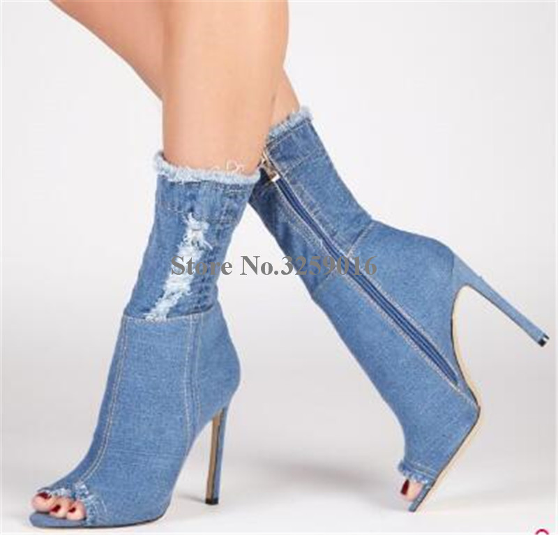 Women Sexy Fashion Peep Toe Stiletto Heel Denim Short Boots Slim Bandage Blue Jean Ankle Booties Motorcycle BootsWomen Sexy Fashion Peep Toe Stiletto Heel Denim Short Boots Slim Bandage Blue Jean Ankle Booties Motorcycle Boots