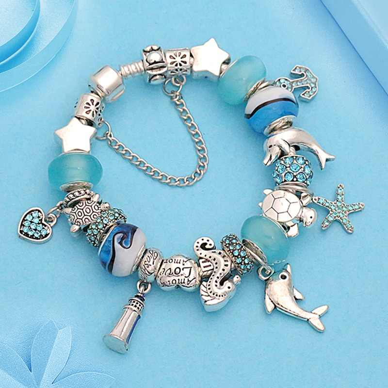 2018 New Design Dolphin Charm Pan Bracelets & Bangles for Women Jewelry Gift Blue Murano Crystal Glass Diy Bead Bracelets