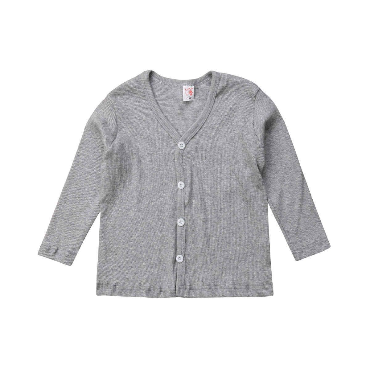 פעוט ילדי תינוק ילד ילדה סרוג V צוואר סוודר קרדיגן מעיל ארוך שרוול למעלה להאריך ימים יותר