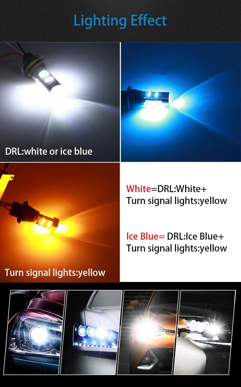 HTB1fOreDH1YBuNjSszeq6yblFXa2 ba15s BAU15S 1156 p21w s25 42led T20 W21W WY21W 7440 light Daytime Running Light+Turn Signal Dual Mode DRL LED External Lights