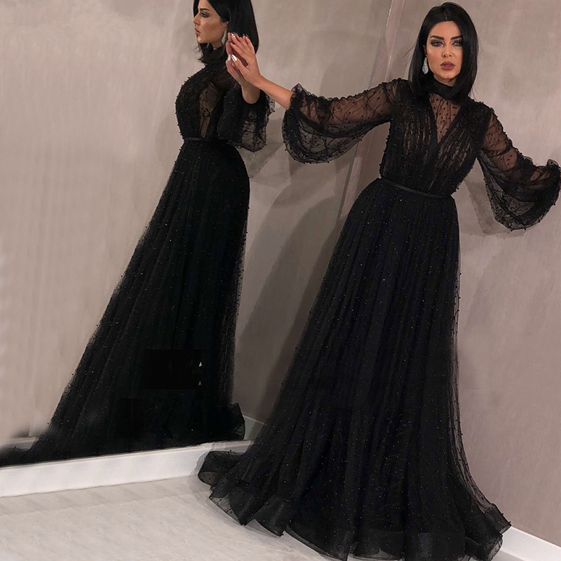 Black Muslim Evening Dresses 2019 A line Long Sleeves Tulle Pearls Long Islamic Dubai Saudi Arabic