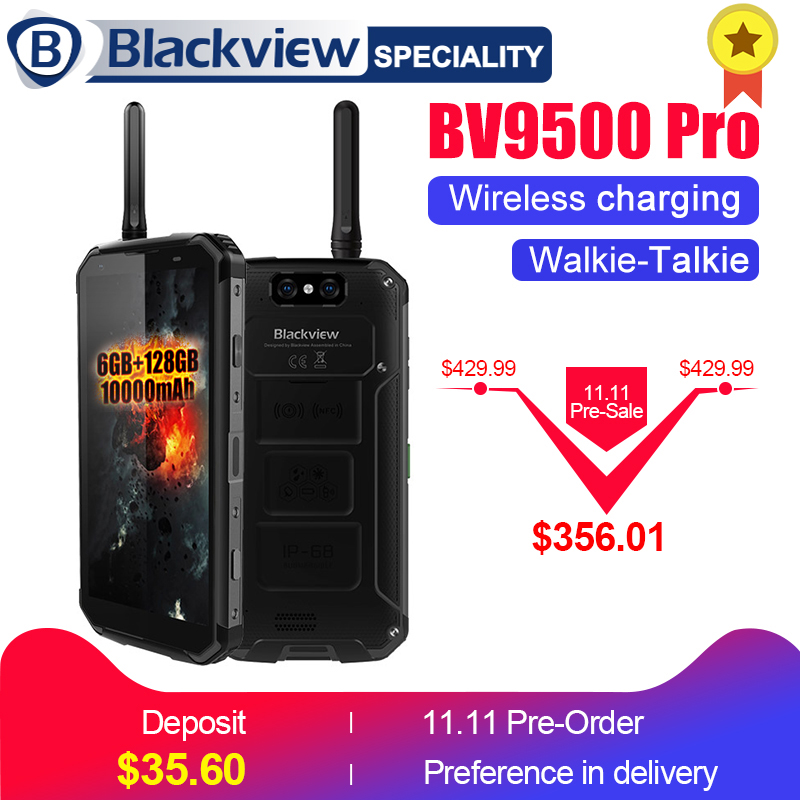 BLACKVIEW BV9500 Pro 10000 mah sans fil de charge mobile téléphone IP68 étanche 5.7 18:9 FHD Smartphone Android 8.1 6g + 128 gb NFC