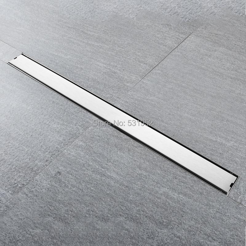 High Quality 80CM SUS304 Stainless Steel Floor Drain Tile Insert Rectangular Anti Odor Shower Floor Drain