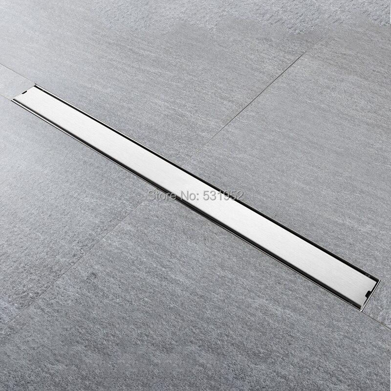 Haute qualité 80 CM SUS304 en acier inoxydable plancher Drain carrelage Insert rectangulaire Anti-odeur douche plancher Drain porte Drain