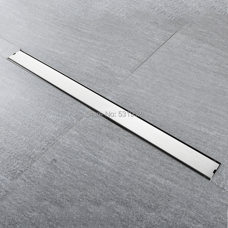 High Quality 80CM SUS304 Stainless Steel Floor Drain Tile Insert Rectangular Anti-Odor Shower Floor Drain Gate Drain