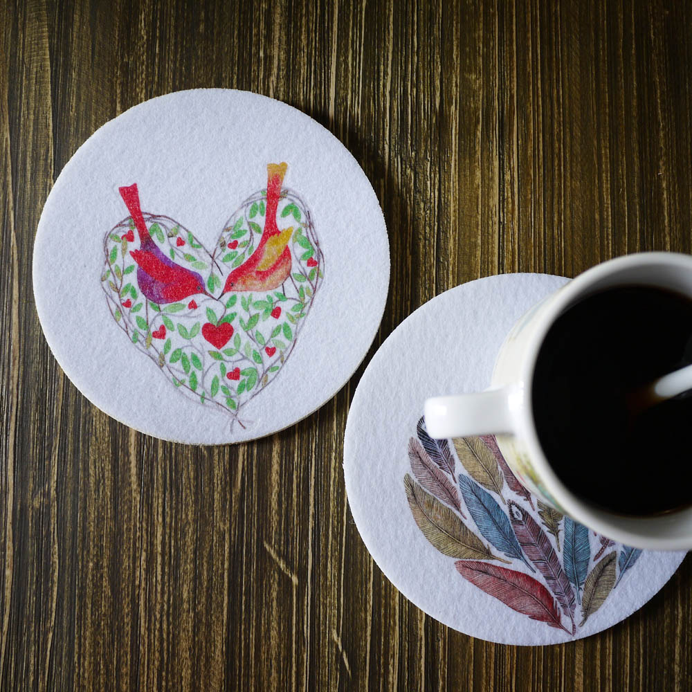 5pcs/set The Nordic Style Felt Mat Handmade Teacup Coaster for Pots and Pans Insulated with Water Designer Original