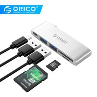 ORICO USB HUB USB C to 3.0 HUB SD TF Card Reader Adapter for MacBook Samsung Galaxy S9 Huawei P20 Mate 20 Pro Type C USB HUB PD