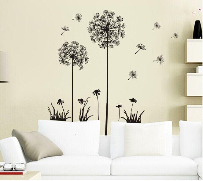 Dandelion Wall Art Dandelion Decor Black White Bedroom: Black Beautiful Dandelion Wall Stickers Living Room