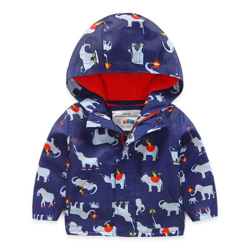 Демисезонный ребенка с капюшоном для мальчиков с принтом динозавра или с принтом слона Повседневные куртки и пальто