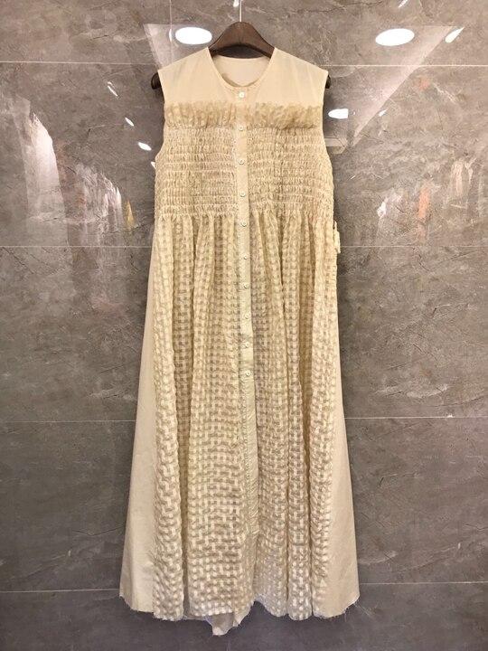 2019 summer new women's net color buttoned plaid vest dress 704