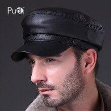 HL009 oryginalny czarny Lambskin skórzane czapka z daszkiem marki w nowym stylu wiosna męska prawdziwe skórzane czapki kapelusze