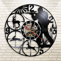 1Piece Hunter Hunting Wild Animals Vinyl Record Wall   Clock   Outdoor Deer Black Hanging Wall   Clock   Wall Hanging Home Decor Art