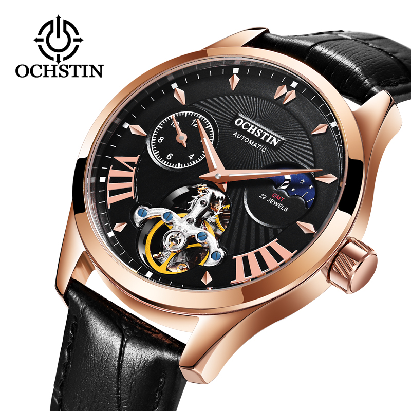 Fashion Men Mechanical Watch Luxury Top Brand Tourbillon Skeleton Automatic Luminous Week Waterproof Leather Wrist Watch Relogio goer brand skeleton man automatic watch men s wrist square watch leather mechanical waterproof luminous digital
