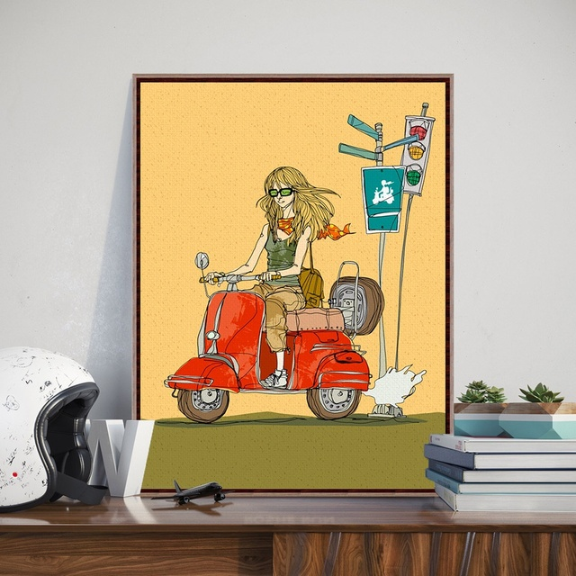 Girl Yellow Motor Modern Rock Drawing A4 Poster Print Japanese ...