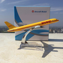 1:400 kids toys Boeing 757-200 B757 DHL Express Delivery Airplane 1/400 Yellow Aircraft Diecast Aircraft Toys for Children Gift