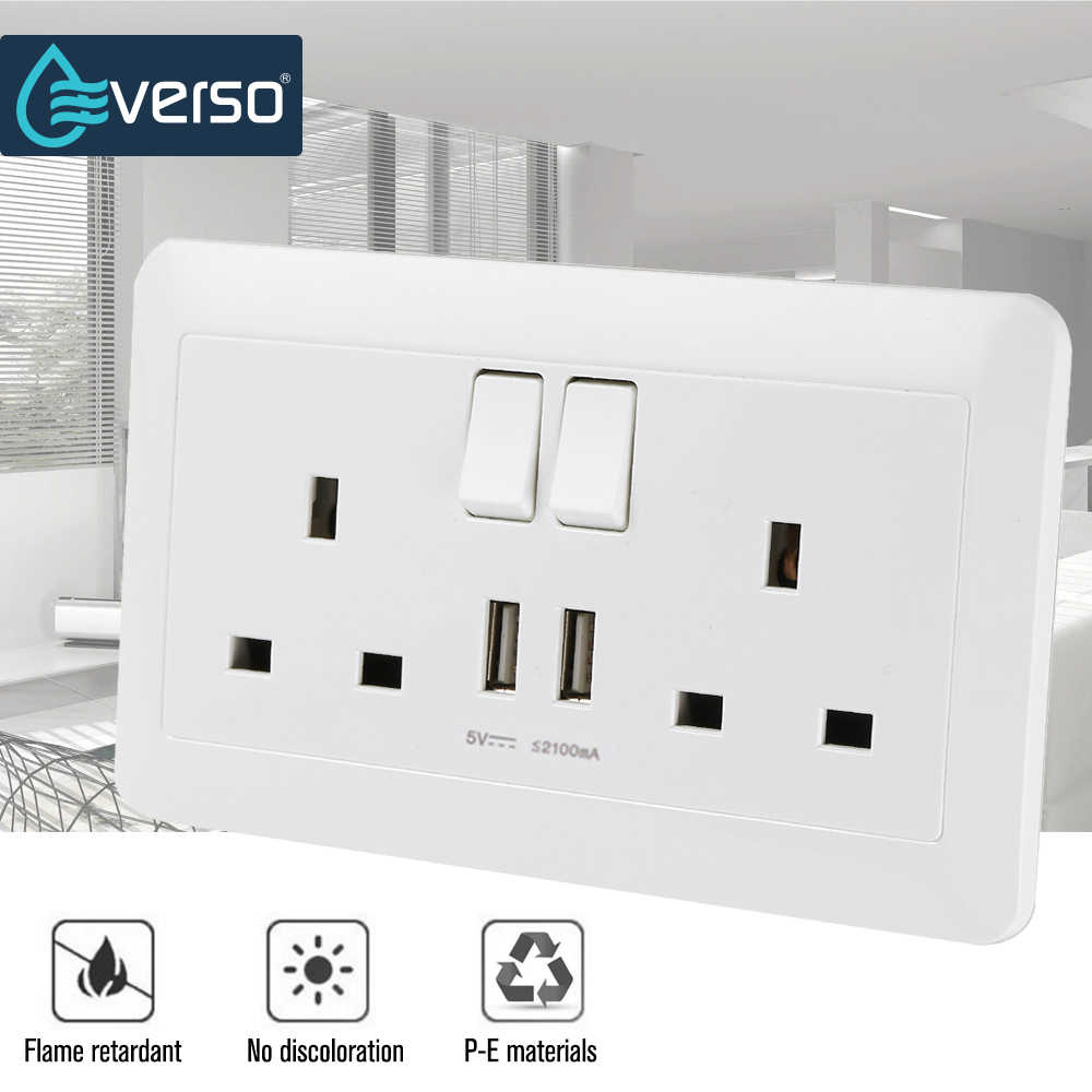 Everso High qulity 2100mA 5V 2 USB Wall Socket AC 180-250V UK Home Wall Charger 2 Ports USB Outlet Power Charger us uk plug 4 ports usb wall charger portable power strip socket 2 outlet