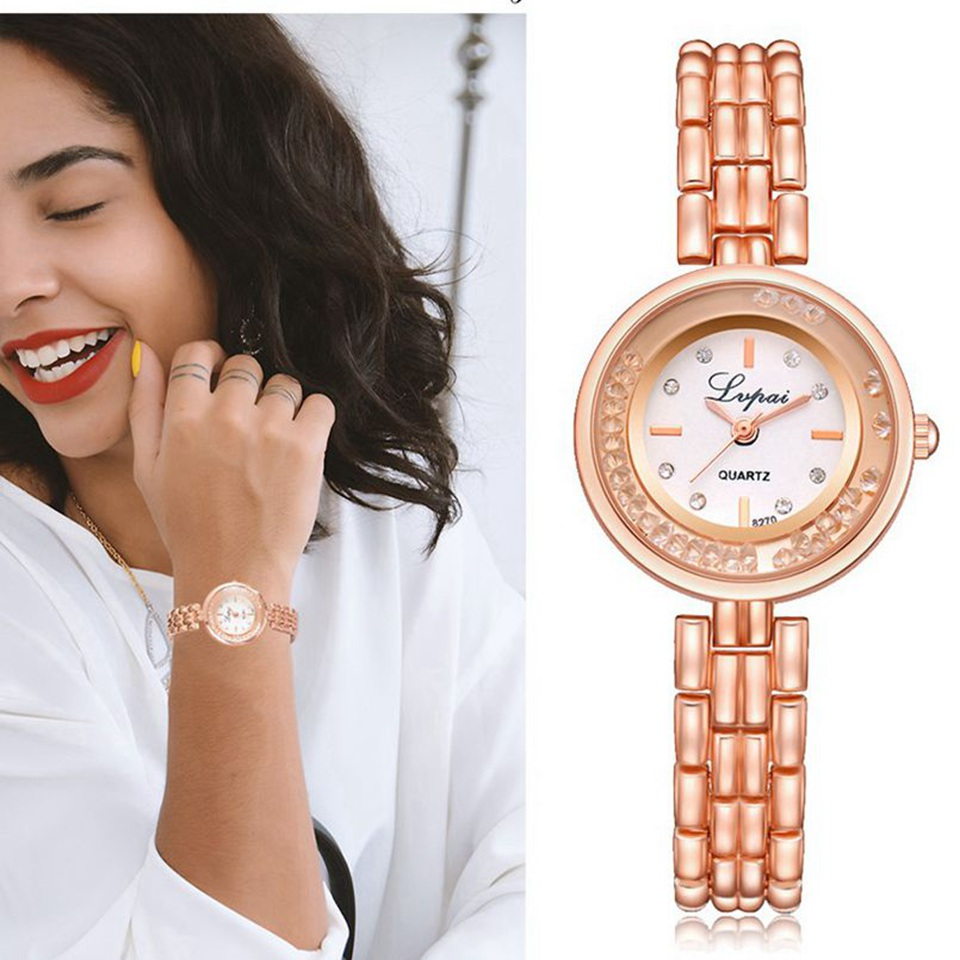 цены Lvpai Top Brand Watches Women Rose Gold Ladies Bracelet Watch Rhinestone Women Quartz Watch Dress Clock Relogio Feminino