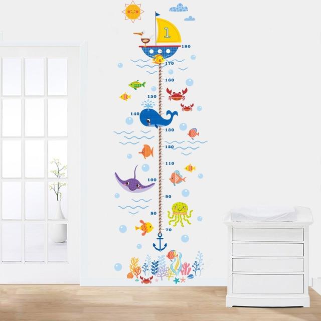 Onderwaterwereld haai hoogte stickers kinderen slaapkamer slaapkamer ...