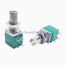 50pcs/lot RV097NS 5K 10K 20K 50K 100K 500K B5K with a switch audio 5pin shaft 15mm amplifier sealing potentiometer In Stock