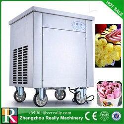 Thailand street fried ice cream roll machine single round pan fried ice cream machine with hot sale compressor