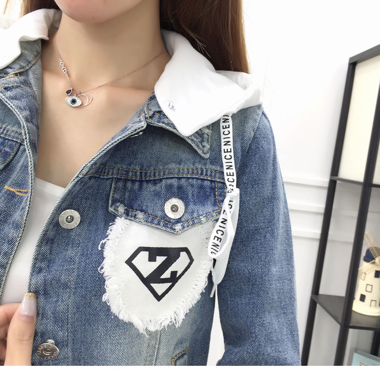New Autumn Casual Hooded Short Denim Jacket Women Fashion Splicing Patch Coat Plus size Pockets Loose Jackets Jeans Coat Female 55