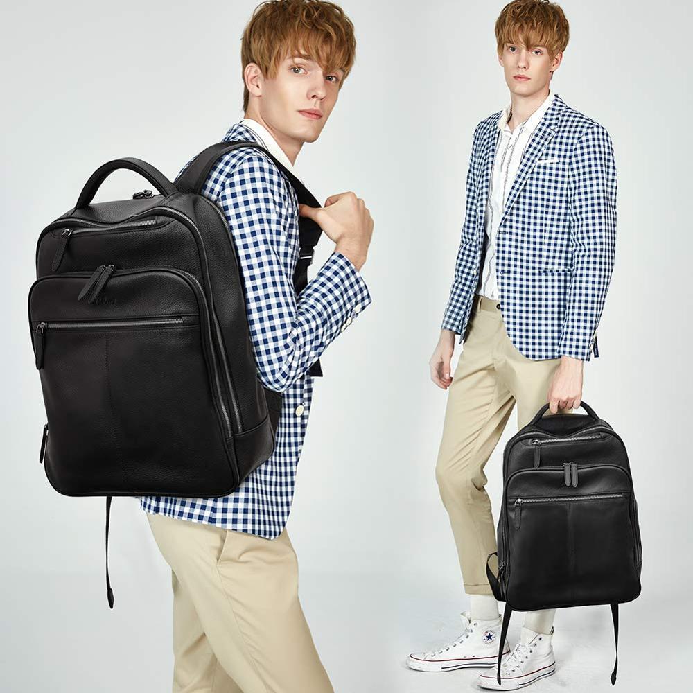 BOSTANTEN หนังแท้กระเป๋าเป้สะพายหลังสำหรับ Men Slim 15.6 นิ้วแล็ปท็อปขนาดใหญ่กระเป๋าเดินทางสีดำ-ใน กระเป๋าเป้ จาก สัมภาระและกระเป๋า บน   3