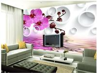 window mural wallpaper Beautiful romantic purple phalaenopsis circle water reflection TV background wall