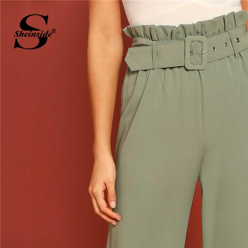 Sheinside Высокая талия поясом широкие брюки женские зеленые пастельные Рюшами детали элегантные брюки 2019 женские свободные брюки и капри