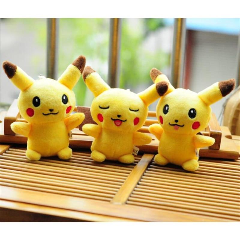 10cm Cute Pikachu Keychain Stuffed Soft Animal Dolls Children Toys Cartoon Pikachu Movie TV Kids Christmas