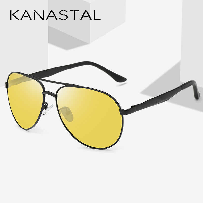 Pilot Night Vision Sunglasses Men Yellow Lens Classic Sun Glasses Women Aluminum Magnesium Polarized Driving Eyewear