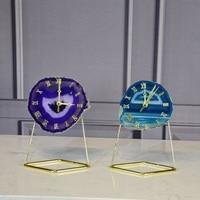 Natural Agate Slice Digital Clock Quartz Crystal Stone Mineral specimen crystal crafts Home Decorations Quartz Clock