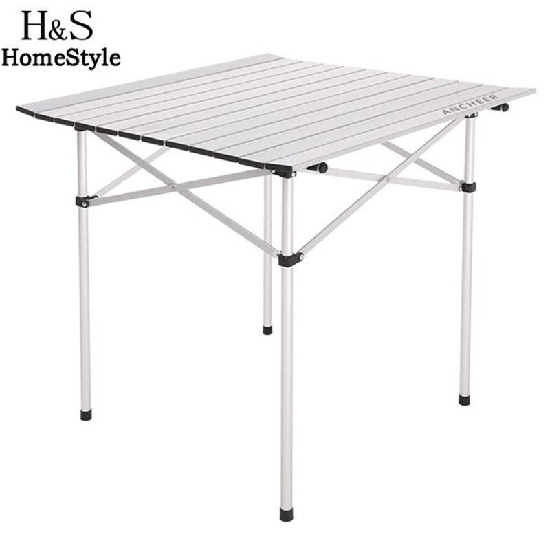 Homdox 69.5 x 68cm size Aluminum alloy structure Folding table for outdoor dinner Picnic party Garden Yard Furniture N20A