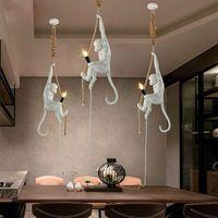LukLoy Modern Pendant Lamp Monkey Lamps art Fashion Hemp Rope Lamp Corridor Study Monkey Pendant Light Hanging Vintage lights