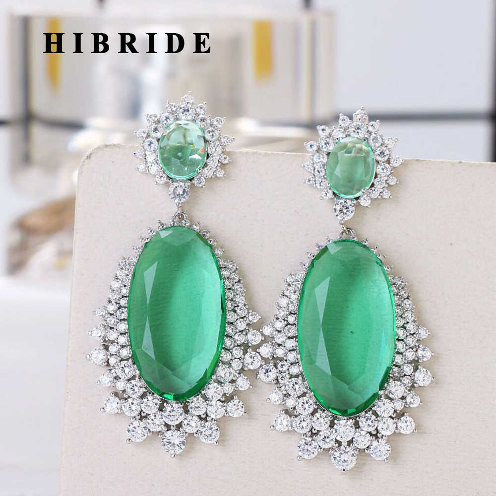 HIBRIDE Water Shape Colorful AAA Cubic Zirconia Stone Round Drop Earrings for Women Luxury CZ Party Event Jewelry E-520