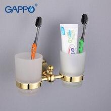 Gappo 1 комплект цинковый сплав подстаканник Стекло чашки настенный Аксессуары для ванной комнаты двойной Зубная щётка чашка зуб holderG1408