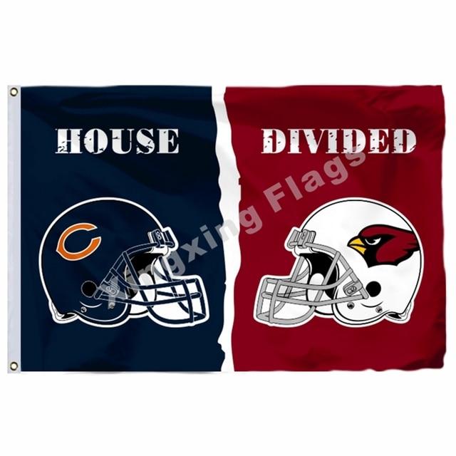 837c902285e Chicago Bears Arizona Cardinals helmets House Divided Flag 3ft x 5ft  Polyester NFL Banner Size No.4 90*150cm Custom flag