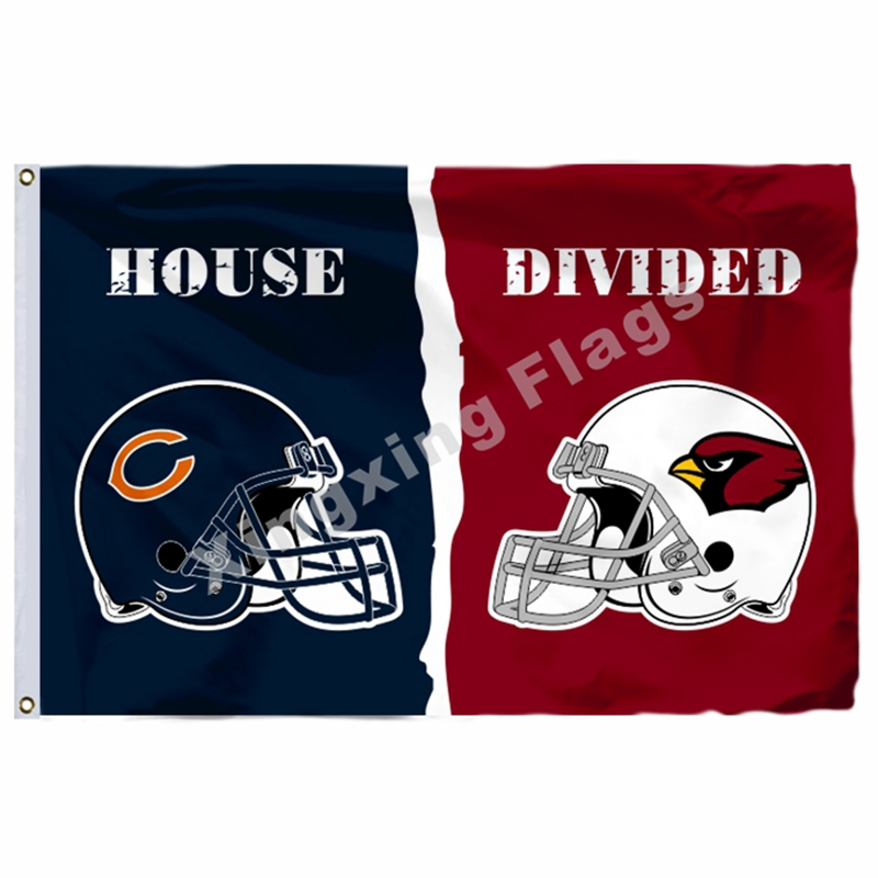 Chicago Bears Arizona Cardinals helmets House Divided Flag 3ft x 5ft Polyester NFL Banner Size No.4 144*96cm Custom flag