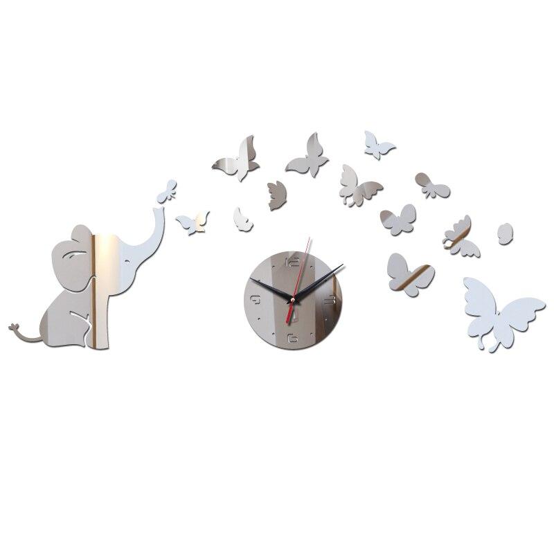 New Fashion Mirror Acrylic Quartz Wall Clock Elephant And Butterfly Decoration Wall Stickers Diy Geometric Wall Watches