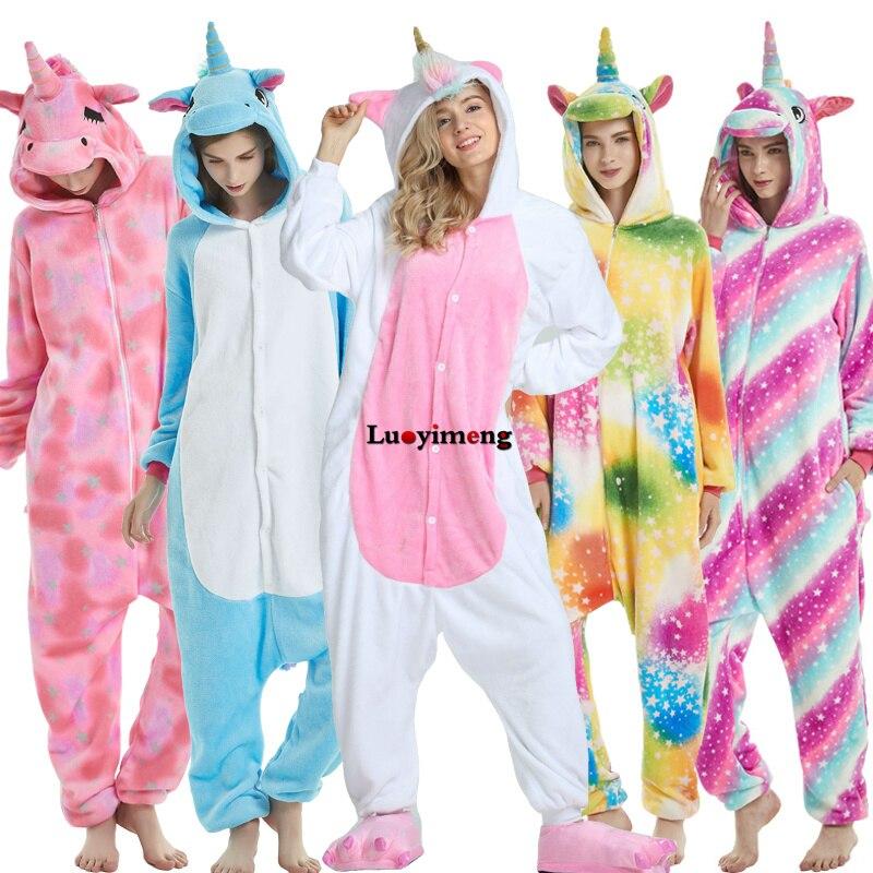 2019 Unicorn Pajamas Onesie Kigurumi Panda Flannel Jumpsuit Women Overalls Winter Adults Nightie Unicornio Pyjamas Sleepwear