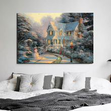 Christmas Wallpaper Thomas Kinkade Canvas Painting Posters Prints Marble Wall Art Decorative Picture Modern Home Decor