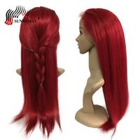 Sunnymay Red Color Full Lace Human Hair Wigs Straight Brazilian Virgin Hair Lace Wig Bleacked Knots Baby Hair
