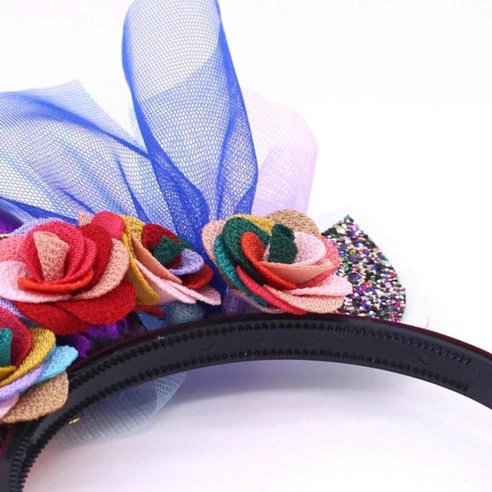 """2 шт Милая повязка на голову """"Единорог"""" дети сетки цветок головной убор модная резинка для волос аксессуары для волос для детей девочек (красный + фиолетовый)"""