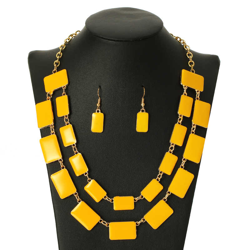 wedding jewelry enamel yellow beads tassel exaggerated choker necklace earrings set multi-layer chain jewelry accessories